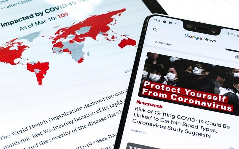 Información sobre coronavirus en medios de comunicación